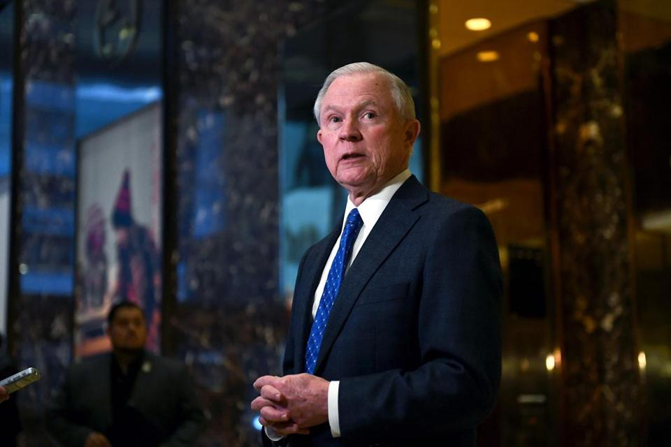 US Senator Jeff Sessions of Alabama talked to the media at the Trump Tower in New York on Thursday.